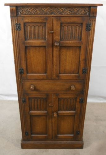 Antique Jacobean Style Oak Linenfold Carved Cabinet Cupboard